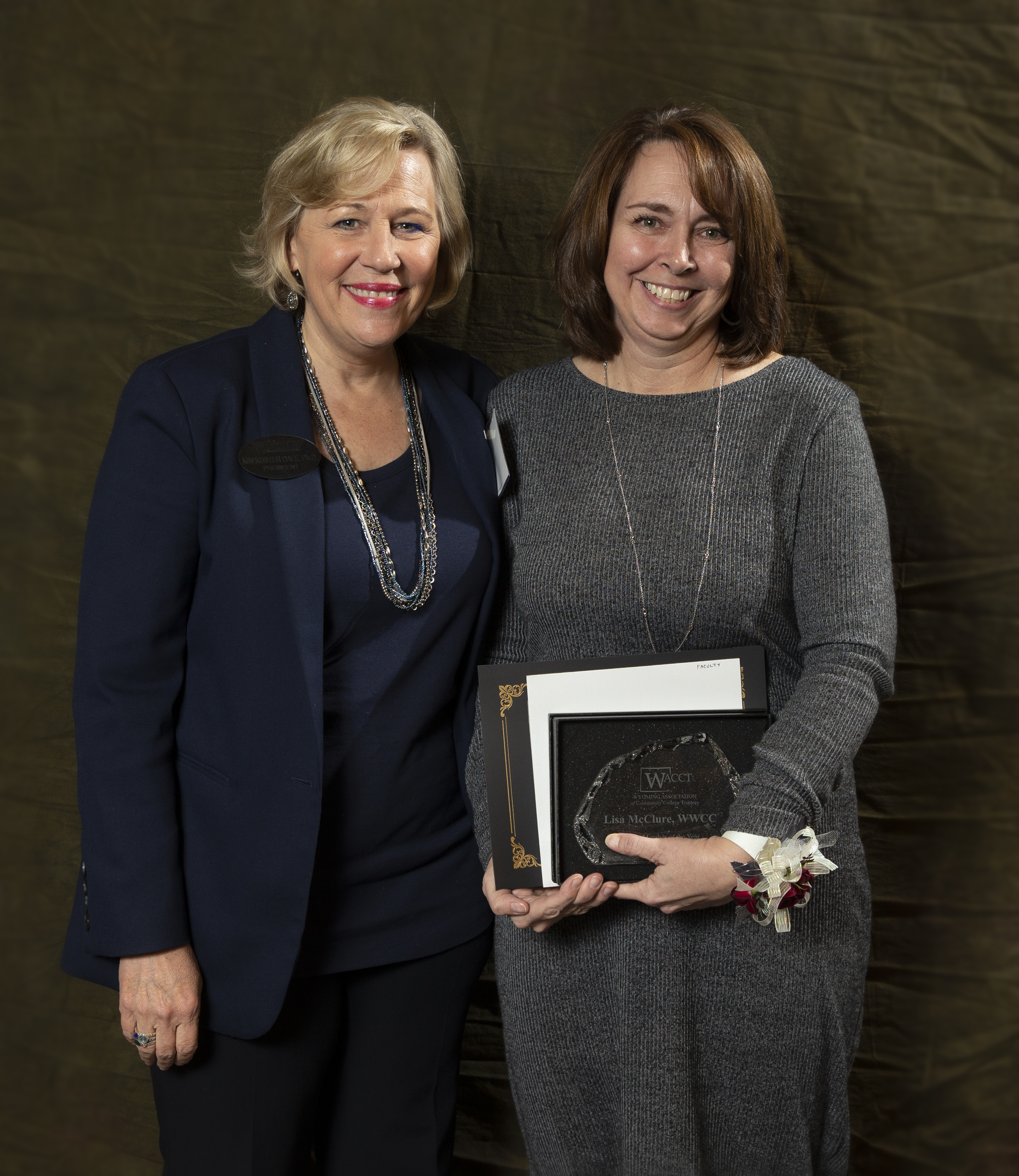Dr. Kim Dale, President of Western Wyoming Community College and Lisa McClure, Assistant Professor of Business Information Systems pictured at the 2020 WACCT Award Ceremony