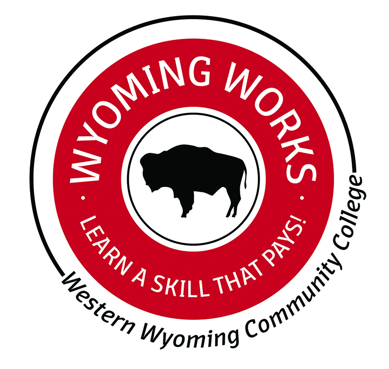 A logo of the State Wyoming Works badge.